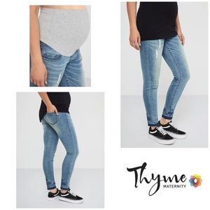 Thyme Maternity Distressed Slim Fit Blue Jeans XL